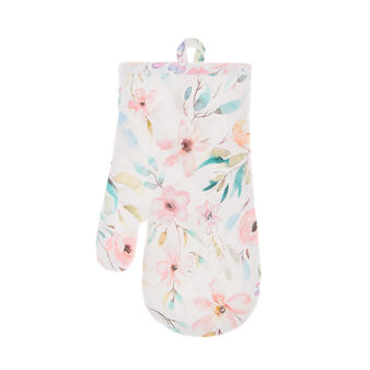 Oven mitt in cotton twill with roses print