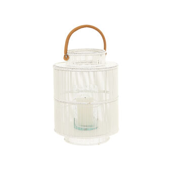 Rattan lantern with leather handle