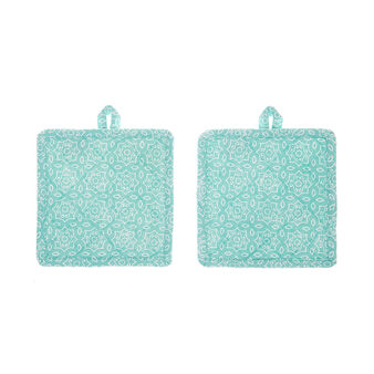 Set of 2 pot holders in 100% cotton with micro pattern