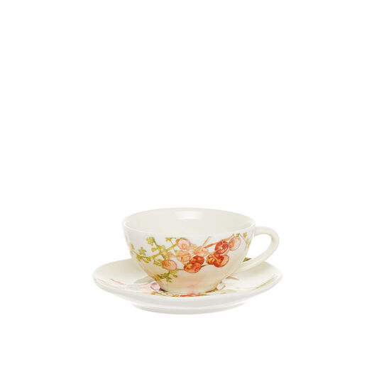 Coffee cup in new bone China with flowers motif