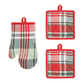 Set of 2 pot holders and oven mitts in 100% yarn-dyed cotton with check motif