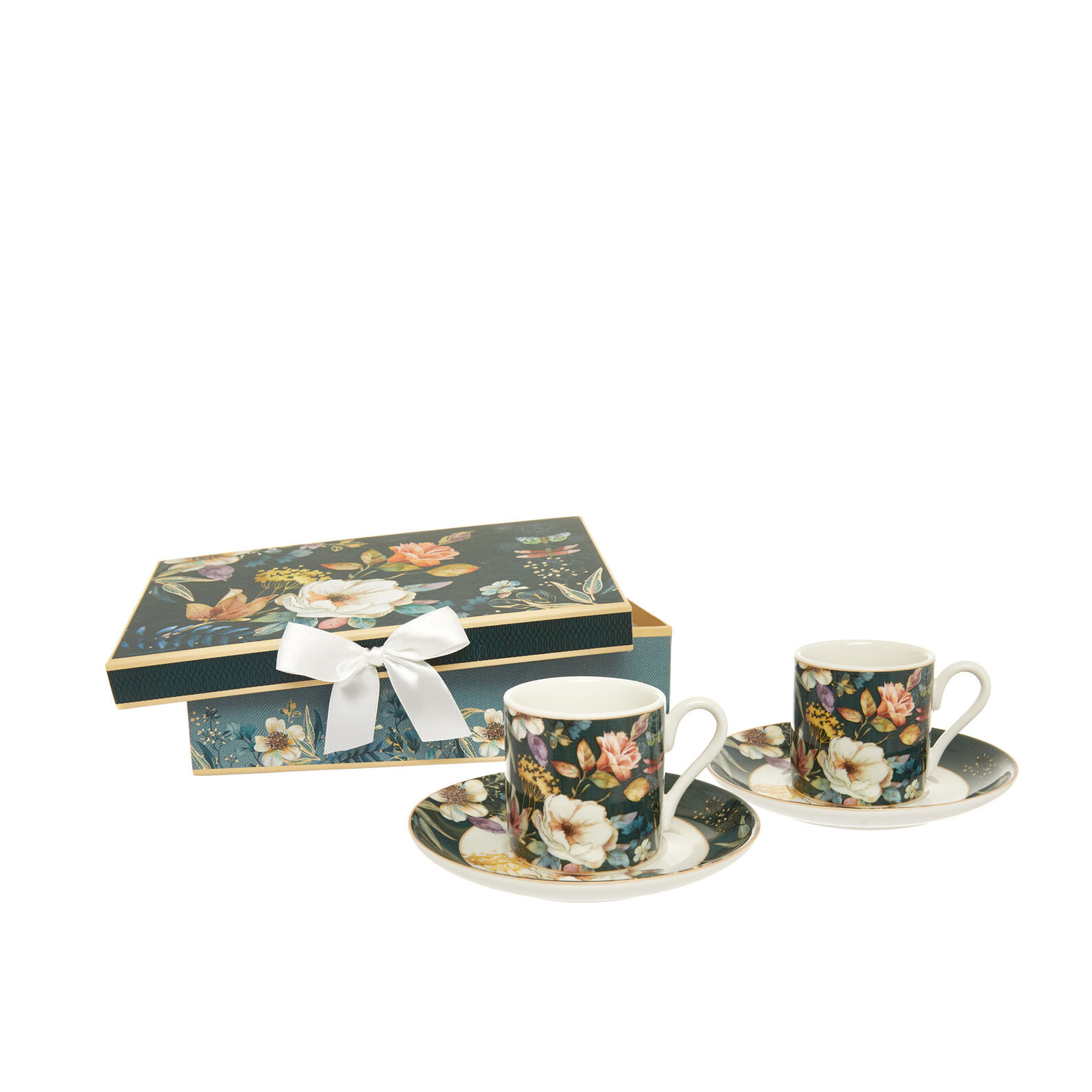 Set 2 tazze da caffè new bone china motivo floreale
