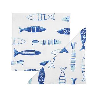 Set 2 tovaglioli puro cotone stampa pesci