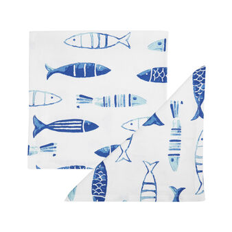2-pack napkins in 100% cotton with fish print