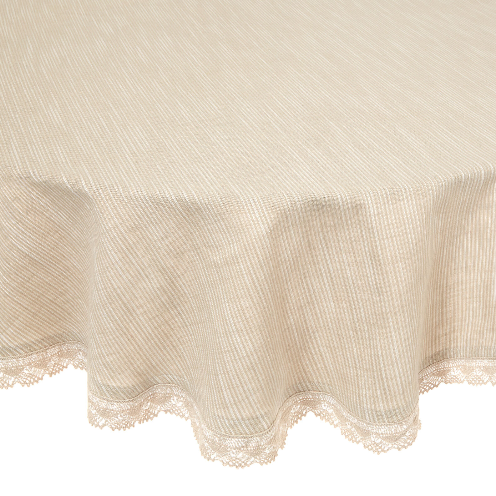 Round 100% iridescent cotton tablecloth with lace trim