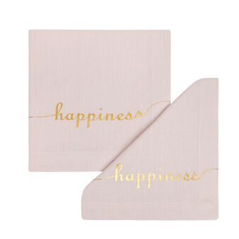 Set of 2 Happiness napkins in 100% cotton
