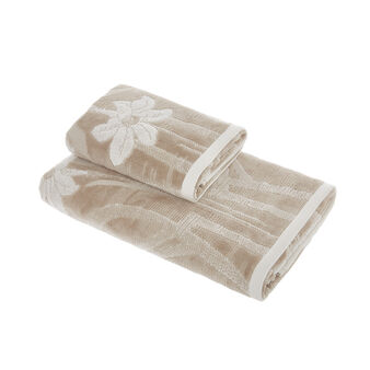 Cotton velour towel with floral pattern