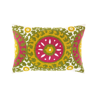 Rectangular cushion with raised chain-stitch embroidery