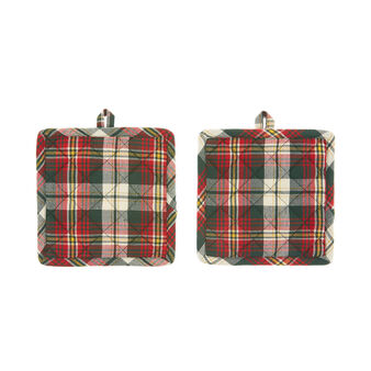 Set of 2 tartan pot holders in cotton twill