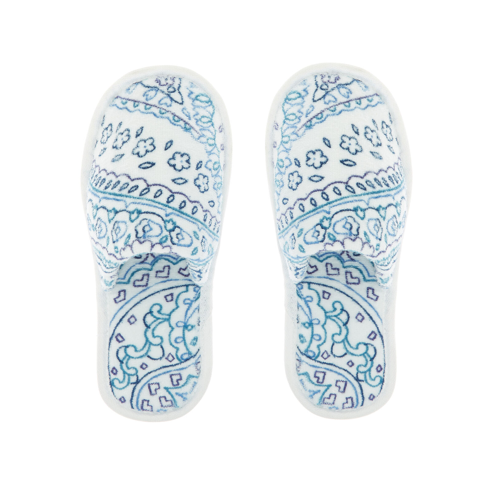 Cotton slippers with paisley print