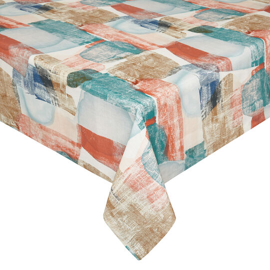 100% linen tablecloth with abstract print