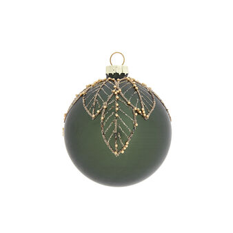Hand-decorated bauble with leaves decoration
