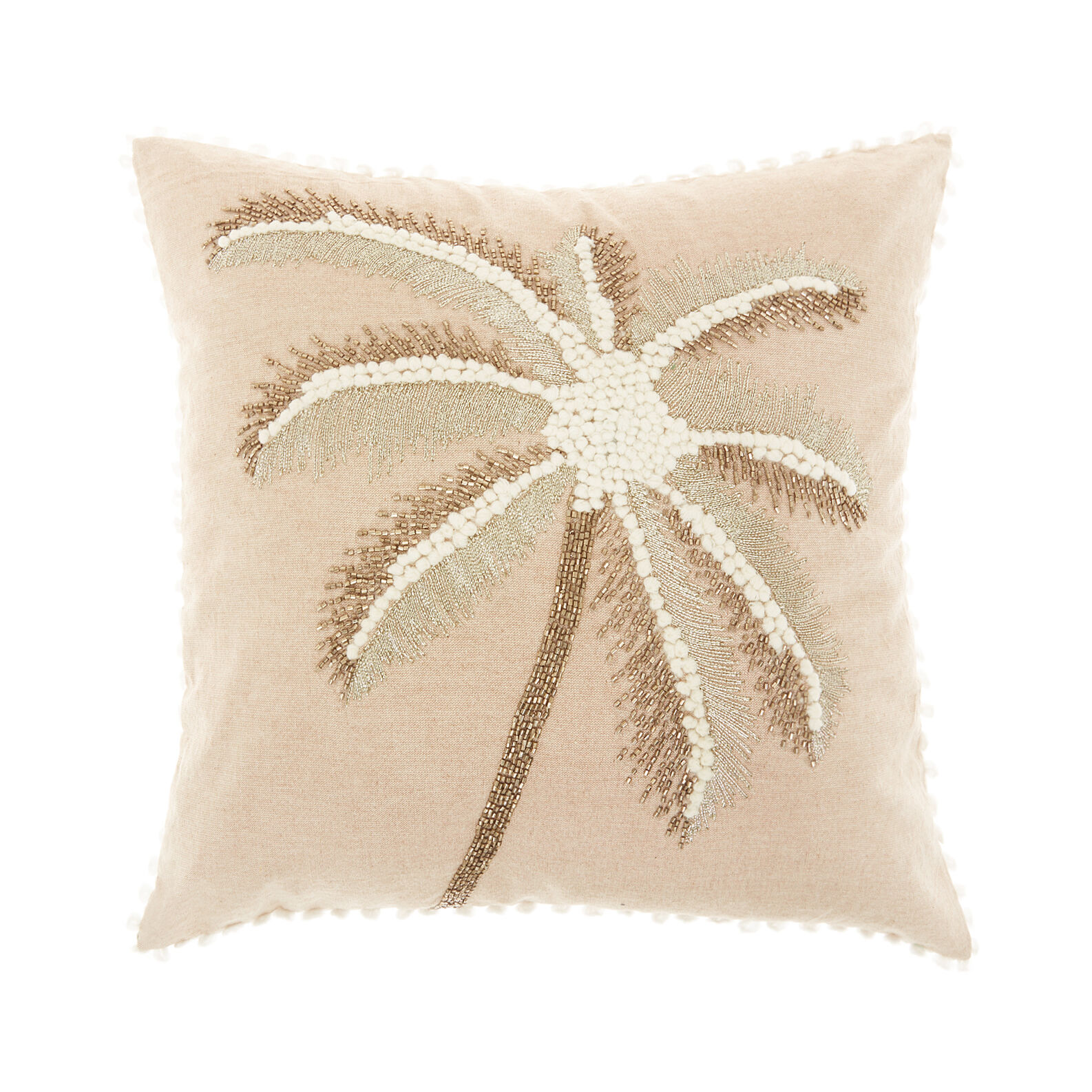 Cushion with palm embroidery