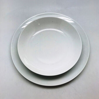 Coupe set of 18 white porcelain plates