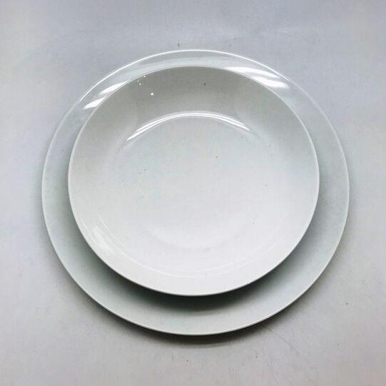 Coupe set of 18 white porcelain plates