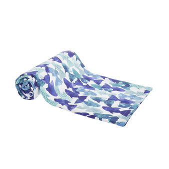 100% cotton throw with fish print