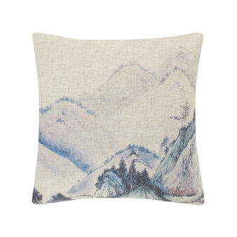 Cushion with Japanese landscape print