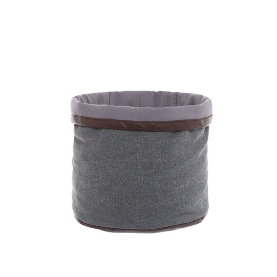 100% stonewashed cotton storage basket with pleather trim