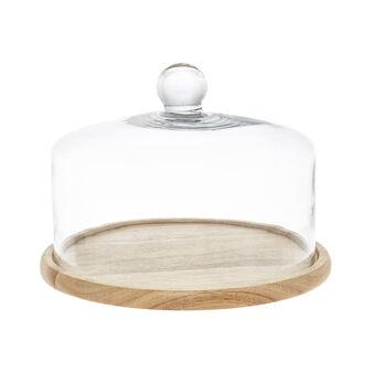 Campana torta vetro base legno