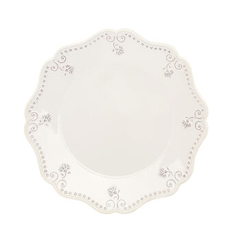Isabel ceramic serving platter with scalloped rim.