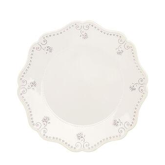 Isabel ceramic serving platter with scalloped rim.