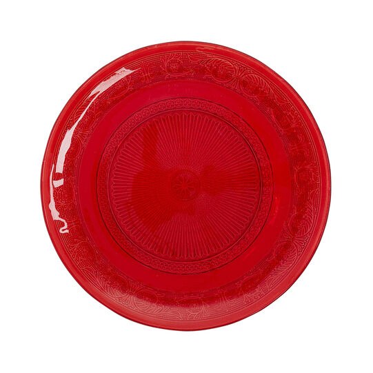 Red glass serving dish