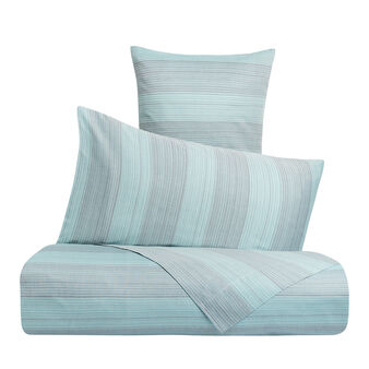Yarn-dyed cotton bed sheet set with striped pattern