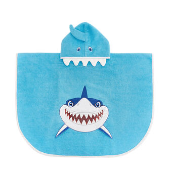 Kid's terry poncho with shark motif