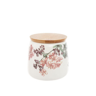 Jar in new bone China with floral decoration
