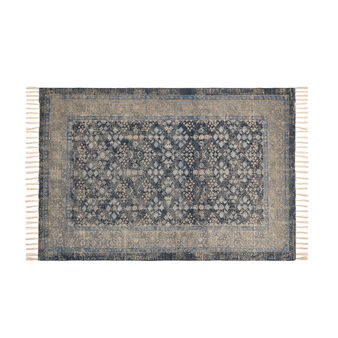 Hand-printed cotton rug with ornamental motif