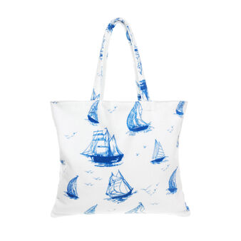 Cotton velour bag with sailing ship print