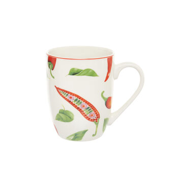 Mug in new bone China with chilli peppers motif