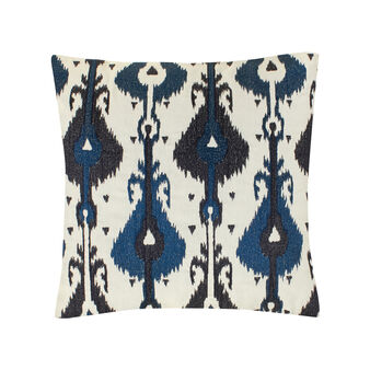 Cotton cushion with ikat embroidery