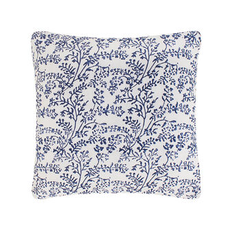 Cotton cushion with block print foliage