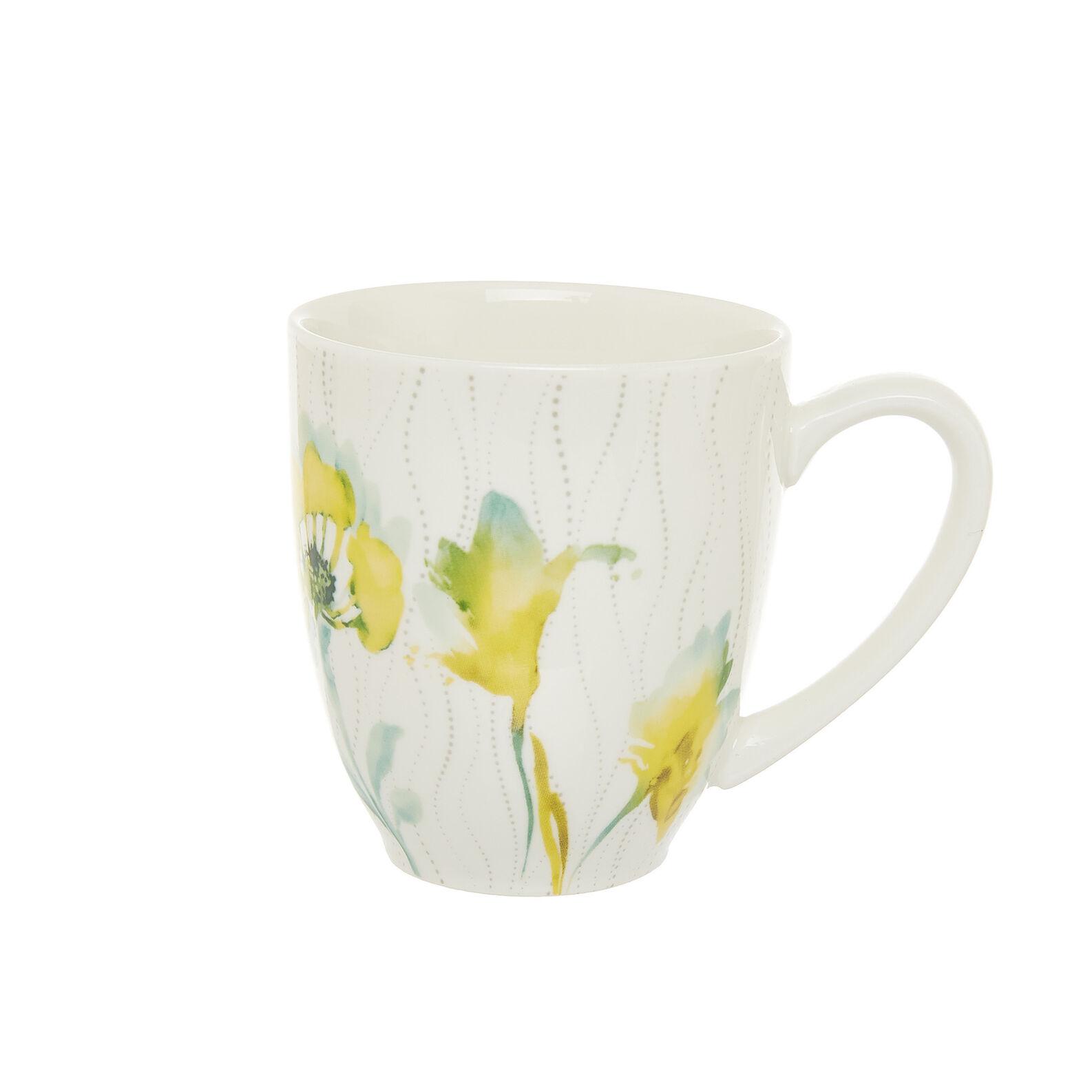 New bone China mug with yellow flowers