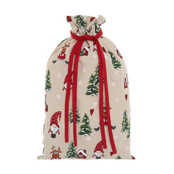 Gift bag in 100% cotton with Christmas print
