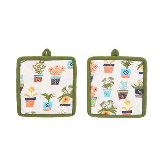 2-pack cotton twill pot holders with vases print