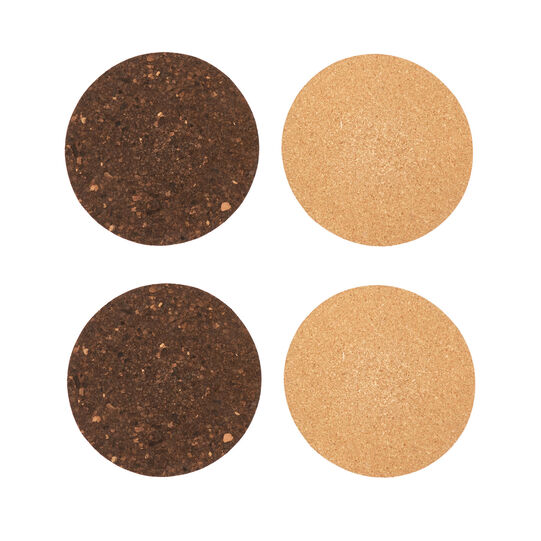 4-pack round cork drinks coasters