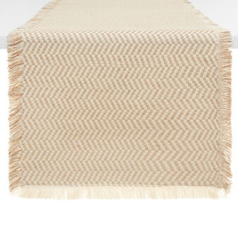 100% cotton table runner with jacquard weave and fringing