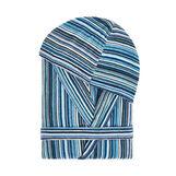 Cotton velour bathrobe with striped pattern