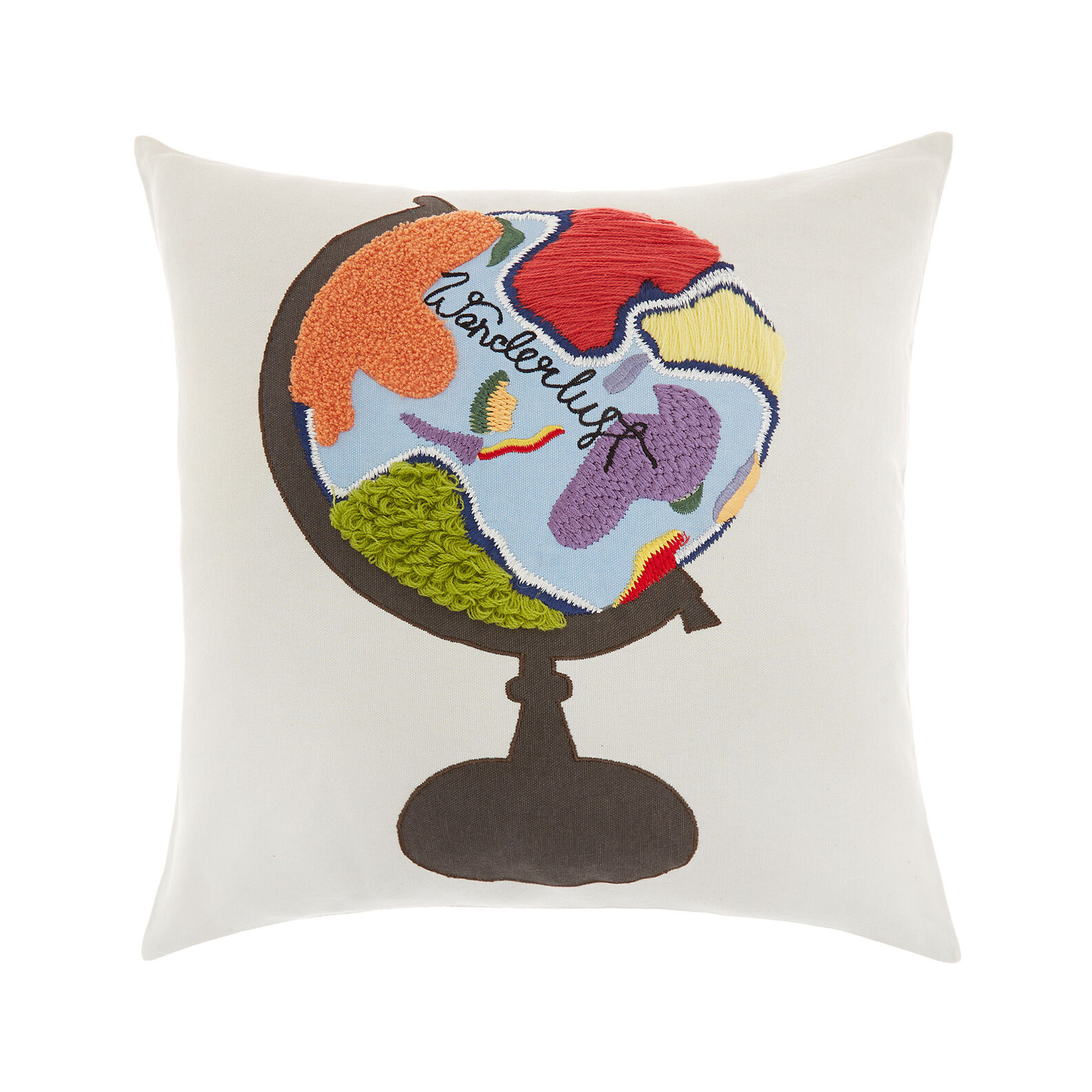 Cotton cushion with Wanderlust embroidery 45 x 45 cm