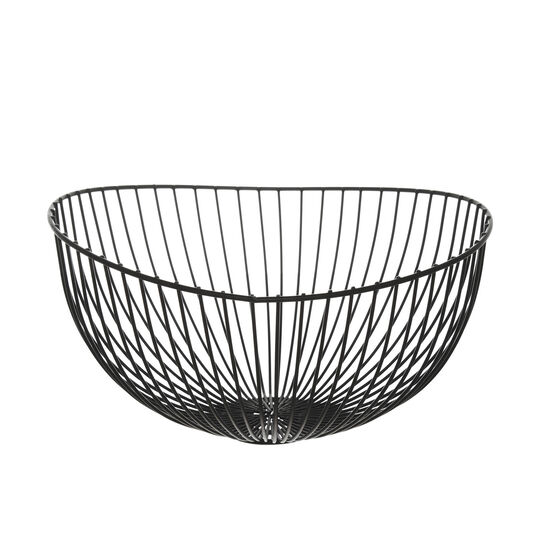 Oval basket in enamelled iron wire