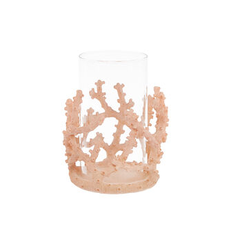 Hand-finished glass storm lamp with coral decoration.
