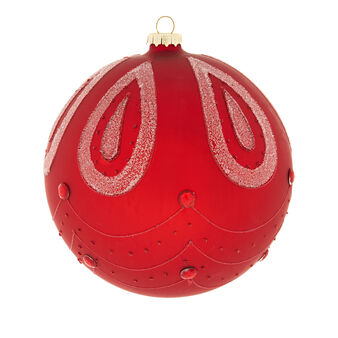 Hand-decorated large glass drop bauble