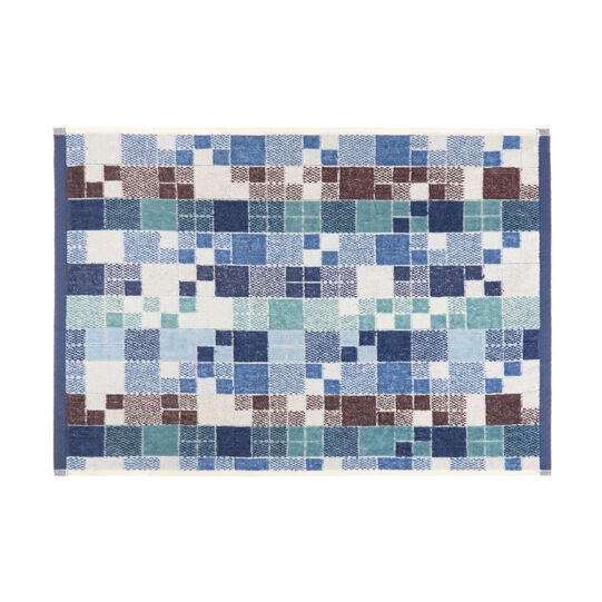 Cotton velour towel with check pattern