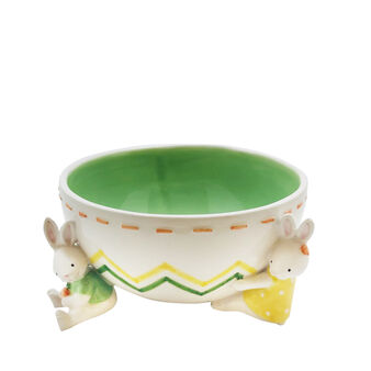 Coppa ceramica dettaglio coniglietti