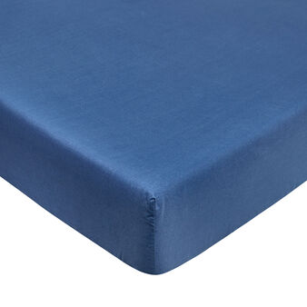 Solid colour fitted sheet in pure cotton