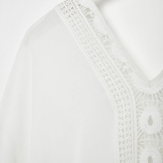 Viscose kaftan with lace detailing