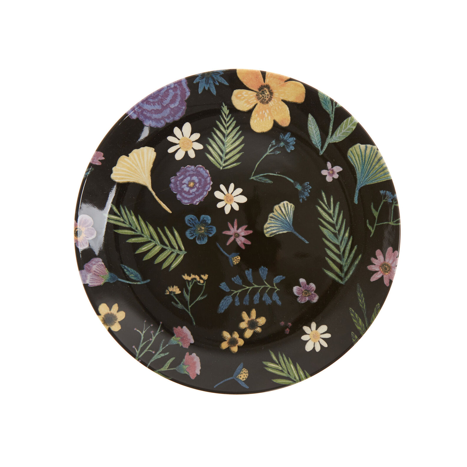 Ceramic plate with flowers print
