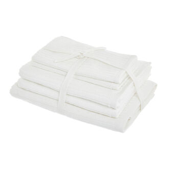 Set of solid colour towels in 100% cotton with jacquard stripes